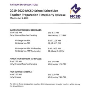 MCSD Flyer image 2019-2020 School Schedules
